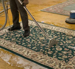 Carpet Cleaners Cleans  an Area Rug in a warehouse
